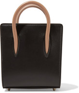 Christian Louboutin Paloma Nano Spiked Matte And Patent-leather Tote - Black