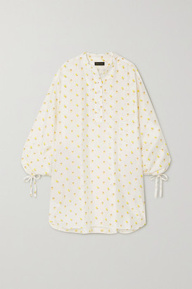 Stine Goya Neva Tie-detailed Floral-jacquard Mini Dress - White