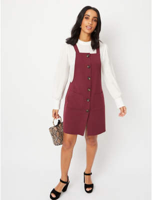 George Burgundy Woven Pinafore Dress