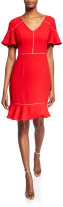 Shani V-Neck Short-Sleeve Crepe Flounce Dress