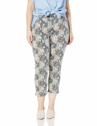 Lucky Brand Women's Plus Size MID Rise Lolita Crop Jean in Grey Multi Floral 24W