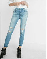 Express High Waisted Distressed Stretch+ Performance Cropped Jean Leggings