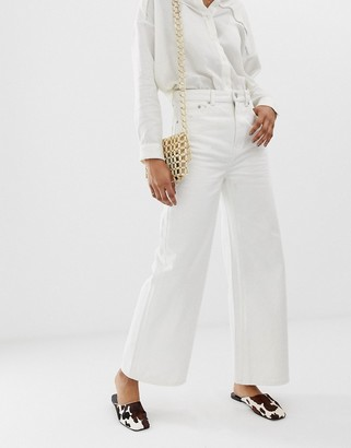 Weekday Ace wide leg jeans in off white
