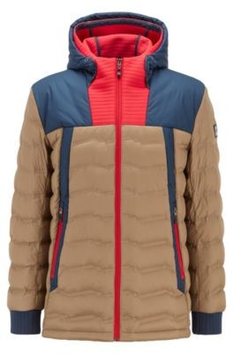 HUGO BOSS Colour-blocked water-repellent down jacket with double hood