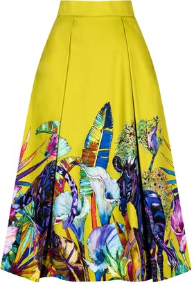 Sika'a Mabote African Print Pleated Midi Skirt