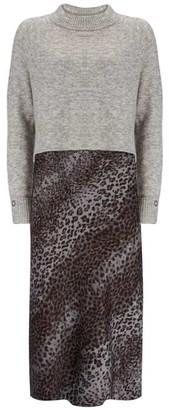 Mint Velvet Grey Layered Slip Midi Dress