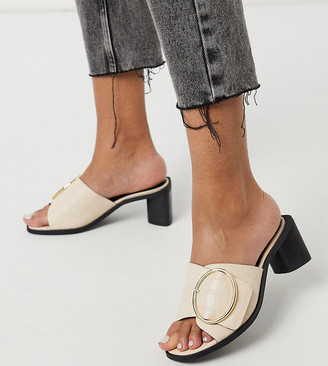 Justice ASRA Exclusive mules with statement buckle in bone croc embossed leather
