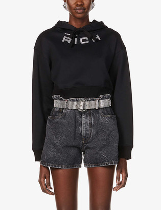 Alessandra Rich Logo-embroidered cropped stretch-cotton hoody