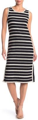 Max Studio Striped Sleeveless Midi Dress