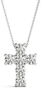 14KT 1.00 CT Modern Style Diamond Cross Pendant Necklace Amcor Design