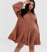 Asos DESIGN Curve trapeze mini dress with godets in seersucker check