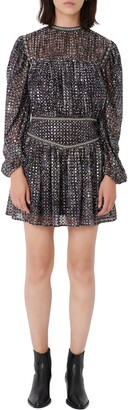 Maje Long Sleeve Sequin Minidress