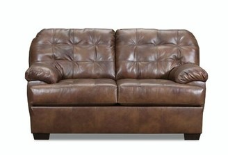 Askerby Leather Loveseat Red Barrel Studio Upholstery Color: Gray