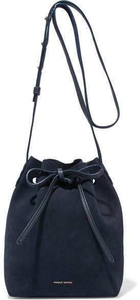 Mansur Gavriel Mini Suede Bucket Bag - Navy