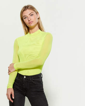 Black Bead Neon Long Sleeve Mesh Bodysuit