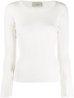Maison Flaneur Long-Sleeved Ribbed Knit Jumper