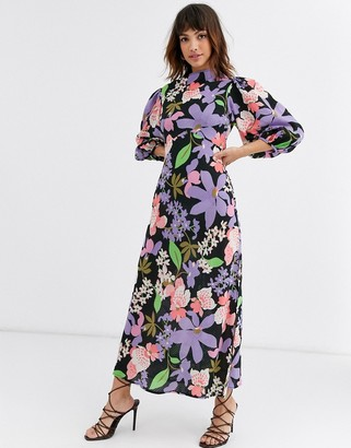 Asos Design DESIGN cowl neck maxi dress in puff sleeves in floral print-Multi