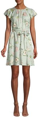 Rebecca Taylor Flutter Sleeve Floral Dress