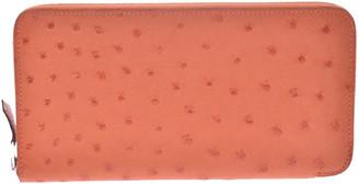 Hermes Orange Ostrich Leather Azap Classic Wallet