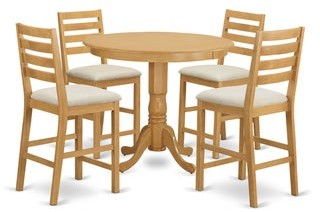 East West Furniture Rubberwood Solid 5-piece Counter-height Pub Dining Set