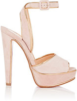 Christian Louboutin Women's Louloudance Suede Platform Sandals-PINK