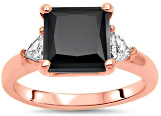 Overstock 14K Rose Gold 3.20ct Princess Cut Black Diamond Trillion 3 Stone Engagement Ring