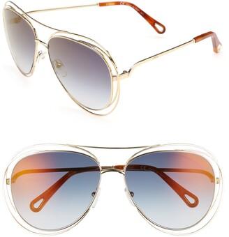 Chloé 61mm Aviator Sunglasses