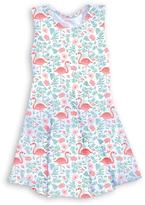 Urban Smalls White & Pink Flamingo Sleeveless Dress - Toddler & Girls