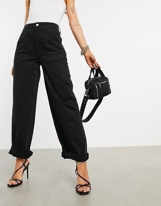 ASOS DESIGN slouchy chino pants in black