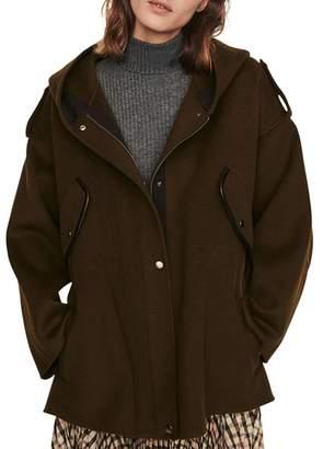Maje Gangzou Wool-Blend Hooded Coat