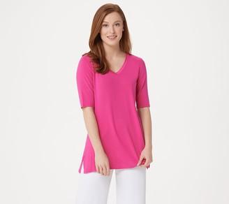 Halston H By H by Essentials Elbow-Sleeve V-Neck Tunic w/ Wide Side Slits