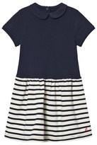 Petit Bateau Navy Stripe Jersey Dress with Bow Detail