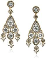 Miguel Ases Large Floral Cluster and Swarovski Open Encircled Teardrop Midsection Chandelier Drop Earrings