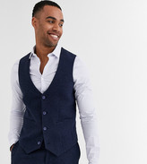 Asos DESIGN Tall wedding super skinny suit suit vest in blue wool blend mini check