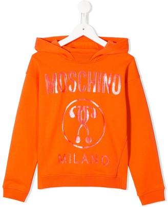 MOSCHINO BAMBINO Shimmer-Logo Hooded Sweatshirt