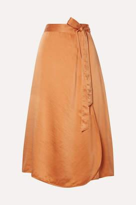 Forte Forte Hammered Silk-satin Wrap Skirt - Orange