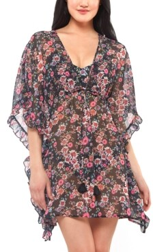 Jessica Simpson Sheer Floral-Print Swim Cover-Up Women's Swimsuit