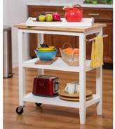Trinity Wood Kitchen Cart with Pull-Out Tray in White