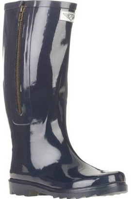 Forever Young Women's Solid Tall Side Mock Zipper Rain Boot