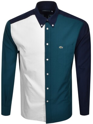 Lacoste Colour Block Long Sleeved Shirt Blue
