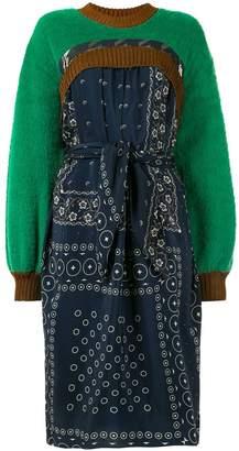 Kolor contrast print textured dress