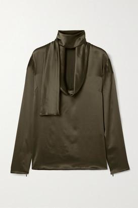 Tom Ford Draped Silk-satin Blouse - Army green