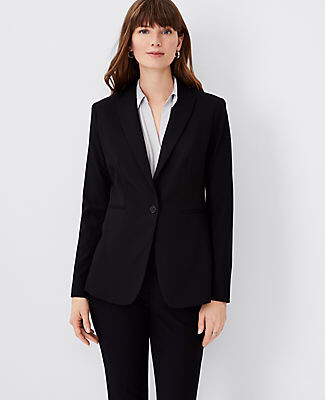 Ann Taylor The Tall Long One-Button Blazer in Bi-Stretch