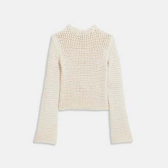Theory Mesh Knit Sweater in Cotton-Nylon