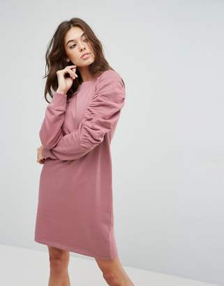 Asos Design Sweat Dress with Ruched Arms-Pink