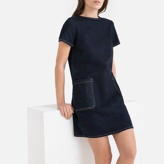 La Redoute Collections Denim Shift Dress with Patch Pockets
