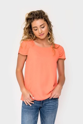 Gibson Erin Ruched Sleeve Top