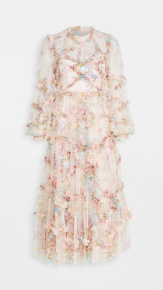 Needle & Thread Floral Diamond Ruffle Ballerina Dress