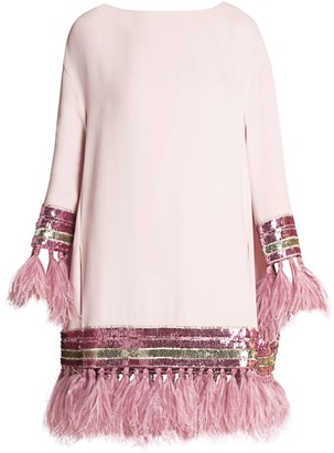 Valentino Feather-Trimmed Embellished Cady Silk Tunic Dress