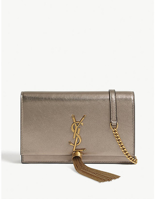 Saint Laurent Kate metallic leather wallet-on-chain